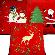 Christmas Cushion Covers Santa Snow Man Xmas Festive Soft Warm Red Velour