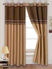 LATTE GOLD BROWN MODERN CHENILLE FAUX SILK 2 TONE RINGTOP EYELET LINED CURTAINS