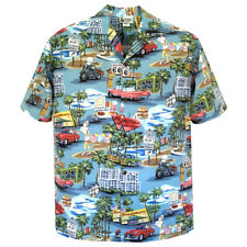 5003699 Route 66 Vintage Tropical Classic Nostalgic Hawaiian Shirt Blue Yellow