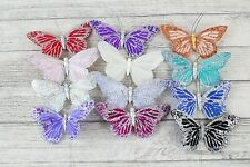 12 Large Real Feather Butterflies Butterflys Florist Wire Cakes Crafts