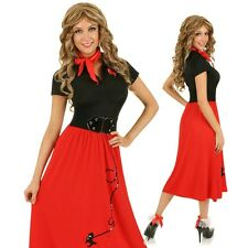 Adult 1950's Rock N Roll Fashion Costume Bopper Fancy Dress 50's Party Outfit