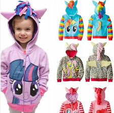 Kids Girls My Little Pony Hoodie Wings Coat Jacket Sweater Twilight Rainbow Dash