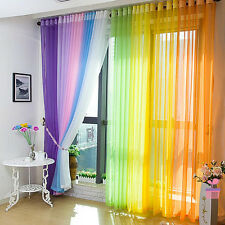 Rainbow Colors Tulle Voile Door Window Curtains Valance Drape Panel Scarf Sheer