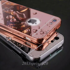 For iphone 5C Luxury Slim Aluminum Metal Bumper + Mirror PC Back Skin Case Cover