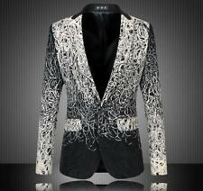 New fashion Mens Floral Printed Casual Business Fomal suit Blazer Coat Jacket Sz