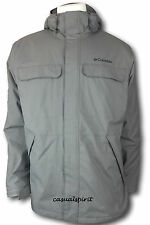New Columbia mens waterproof Omni Tech insulated hooded jacket coat Gray L
