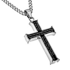Strong And Courageous, MEN Steel Black Cross, Joshua 1:9 Christian Bible Verse