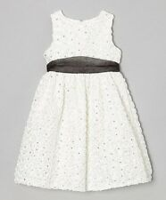 Rare Editions Holiday Formal Sequin Soutache Ivory Dress with Sash