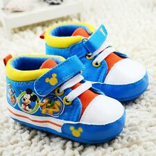 Baby boy girl Toddle infant blue Soft Sole Crib Shoes sneaker Size 0-12Months/a6