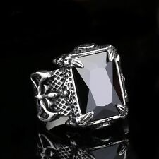 Mens Huge Silver Dragon Claw Black Gem Zircon 316L Stainless Steel Biker Ring