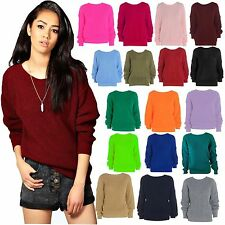New Womens Plain Long Sleeve Baggy Jumper Knitted Chunky Sweater Casual Top 8-18