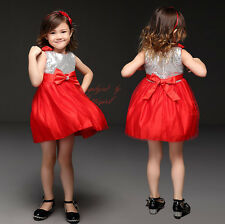 Baby Girls Sequinned Party Dress Wedding Bridesmaid Pageant Toddler Kids Dresses