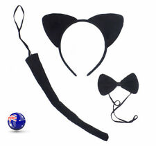Girl Kids Cat Kitty Costume Ear Tail bowtie Party Hair head band 3 set Prop