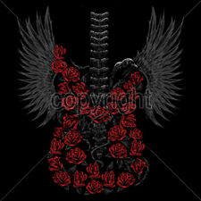 Guitar Skeleton Skull Roses Wings Rock & Roll Lovers T-Shirt Tee