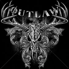 Outlaw Deer Skull Antlers Elk Buck Skeleton T-Shirt Tee