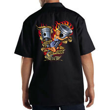 Dickies Black Mechanic Work Shirt Ride A Legend Motorcycle Biker Pin Up Girl