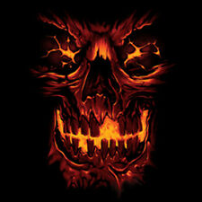 Fiery Skull Skeleton Flames Burning Fire Cool T-Shirt Tee