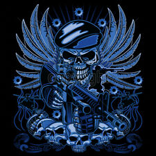 All Blue Special Forces Skull Skeleton AR-15 Rifle Cool T-Shirt Tee