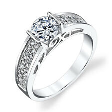 NEW! Sterling Silver CZ Engagement Wedding Ring Set with 1 Carat Cubic Zirconia