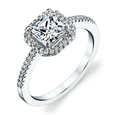 925 Sterling Silver Princess Cut Engagement Ring 1.5 Carat Center Cubic Zirconia