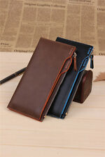 Men's Long Clutch Leather Bifold Purse Notecase Billfold Wallet FREE SH