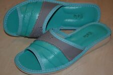 Womens Ladies Natural Leather Handmade Turquoise Slippers Shoes Sandal Flat Heel