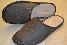 Mens Genuine Sheep Leather Slippers Sandal Shoes Handmade From Poland Scuffs New
