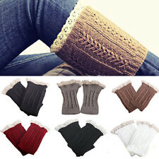 Fashion Lady Womens Crochet Knit Lace Trim Leg Warmers Cuffs Toppers Boot Socks