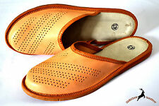 Mens Real Thick Leather Slippers Shoes Sandals Handmade In Poland Soft Close Toe