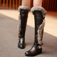 2015 New Women's Winter Snow Fur Shoes Round Toe Knee High Boots Flat Heel size