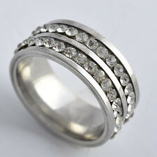womens stainless steel wedding rings silver band crystal ring size 6 7 8 9