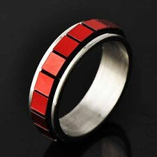 womens stainless steel rings fashion jewelry red Enamel silver band ring