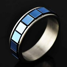 womens stainless steel rings Size 6-9 unisex dark blue Enamel silver band ring