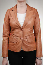 Ladies Tan Leather Jacket blazer Style Retro 2 button blazer