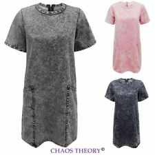 New Ladies Womens Oversized Acid Wash Denim Summer Dress Pockets Tunic Dress