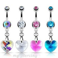 """14GA~3/8"""" 316L Steel Double Gems with Crystal Ray Prism Heart Dangle Navel Ring"""