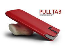 Red Pull Tab PU Leather Case Cover Pouch Slide In Sleeve