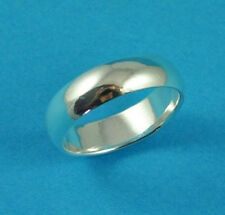 New Sterling Silver D Shaped Heavy Wedding Band Ring 925 Hallmarked 6mm UK Sizes