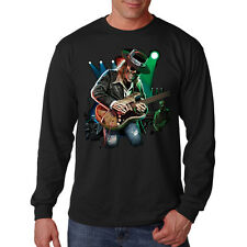 Texas Blues Skull Skeleton Playing Guitar Music Lovers Long Sleeve T-Shirt Tee
