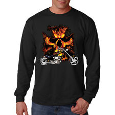 Iron Cross Burning Skull Motorcycle Biker Chopper Long Sleeve T-Shirt Tee