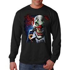 Scary Evil Smiling Clown Smoking Cigar Gold Tooth Long Sleeve T-Shirt Tee