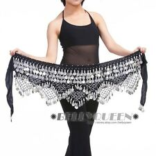 Belly Dancing Hip Scarf Skirt Wrap Velvet Costumesx1pcs Gold or Silver Coins