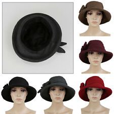 Vintage Wide Brim Wool Felt Bowler Women Ladies Fedora Hat Caps Floppy Cloche
