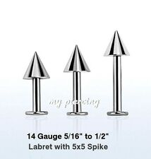 "1pc. 14g~5/16"", 3/8"", 7/16"", 1/2"" 316L Steel Chin Labret with 5x5mm Cone Spike"