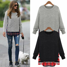 Womens Oversized Baggy Knitted Pullover Plaid Casual Jumper Warm Sweater Tops