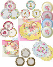 Vintage Party paper plates- Truly Scrumptious, floral tea party wedding birthday
