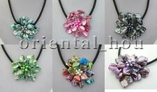 17.5 inch Hademade 6colors Shell Flower&FW Pearl Jewelry Strand Necklace