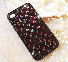 For Mobile Phone Sparkly Dark Purple Crystals Rhinestones Bling Hard Cover Case