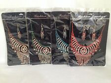 Diamante Indian Bollywood Style Costume Jewellery Necklace + Earring Set ref 99