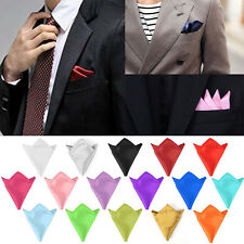 Colors Men's Pocket Square Hanky Handkerchief Plain Solid Wedding Formal Party